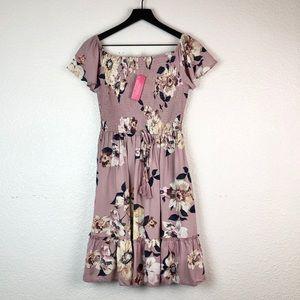 Xhilaration Floral Dress Mauve Flare Pockets M